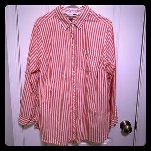 "1X Old Navy ""The Tunic"" shirt, salmon stripes"